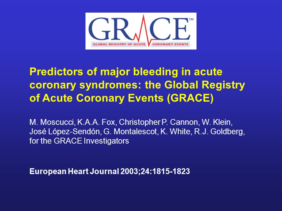 Predictors of major bleeding in acute coronary syndromes: the Global Registry of Acute Coronary Events (GRACE)