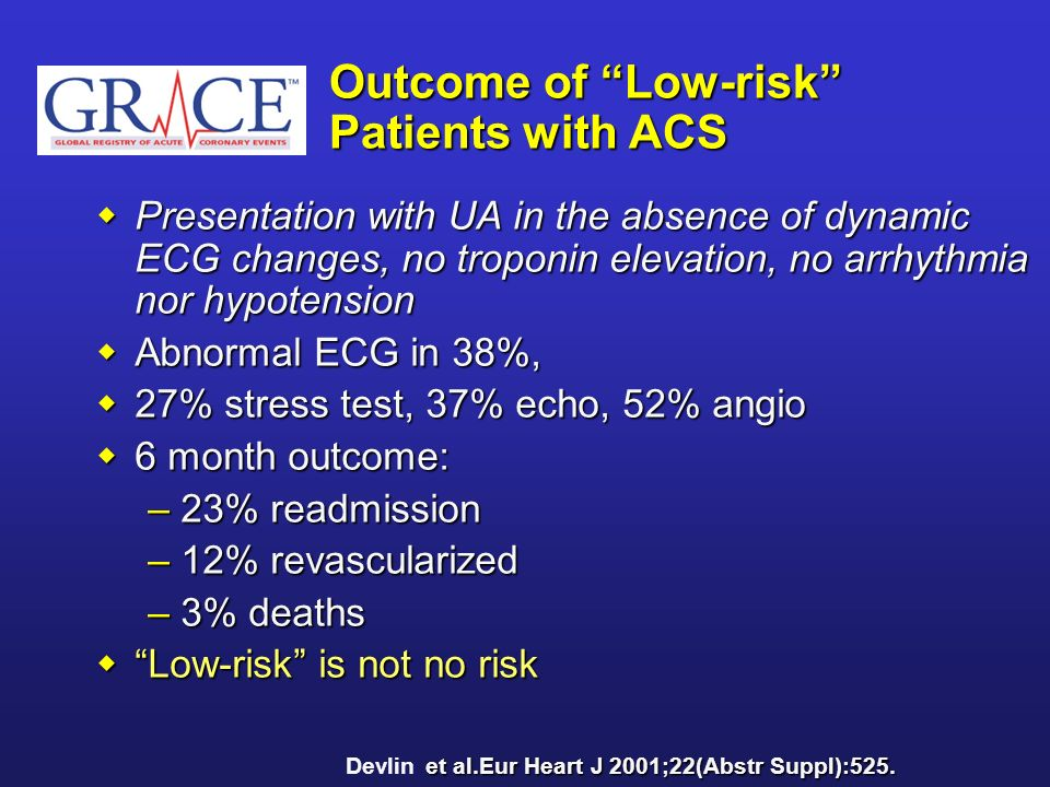 Outcome of Low-risk Patients with ACS