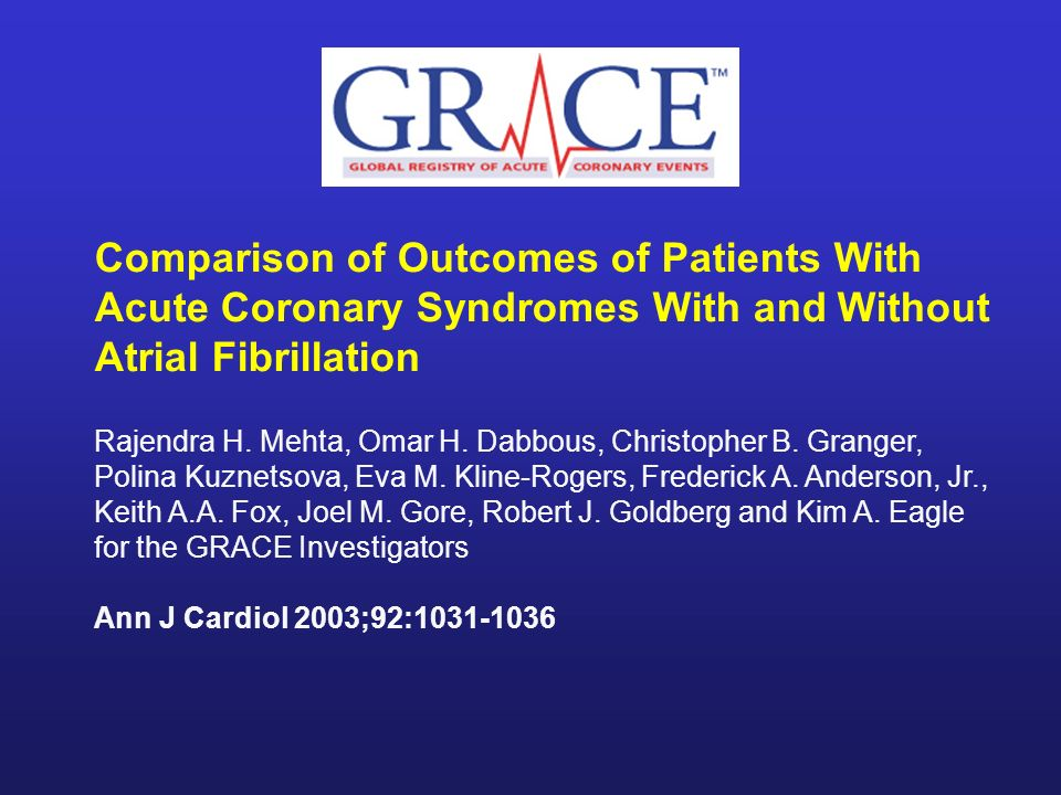 Comparison of Outcomes of Patients With Acute Coronary Syndromes With and Without Atrial Fibrillation