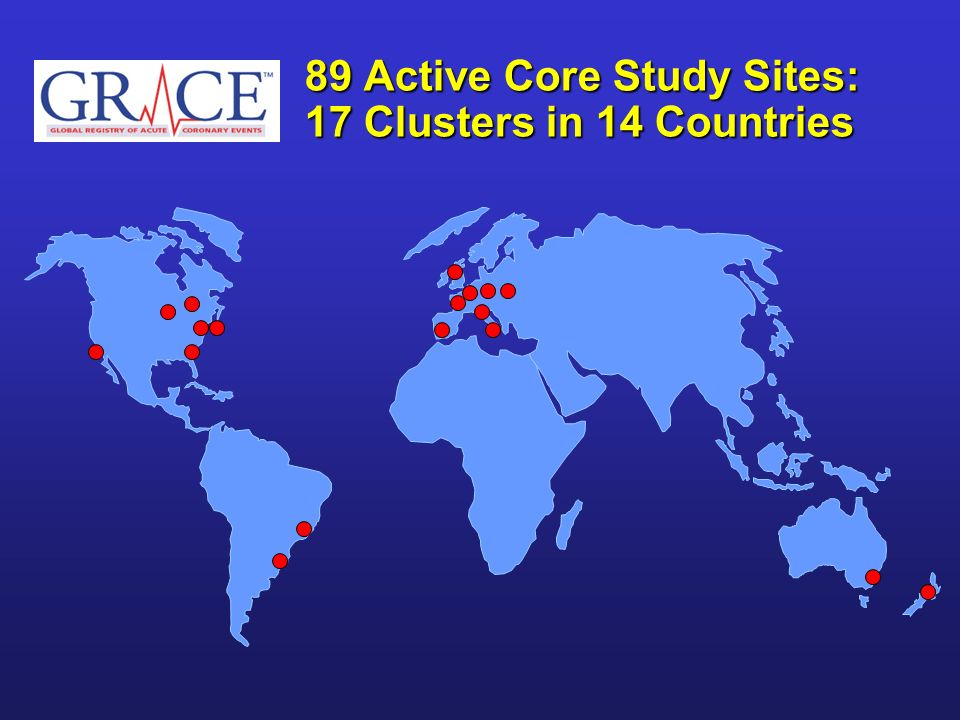 89 Active Core Study Sites: 17 Clusters in 14 Countries