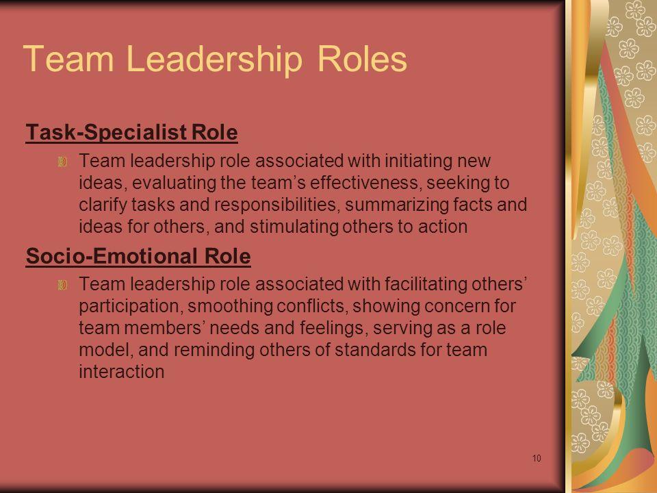 Team Leadership Roles Task-Specialist Role Socio-Emotional Role