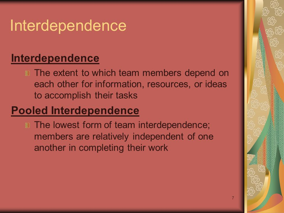 Interdependence Interdependence Pooled Interdependence