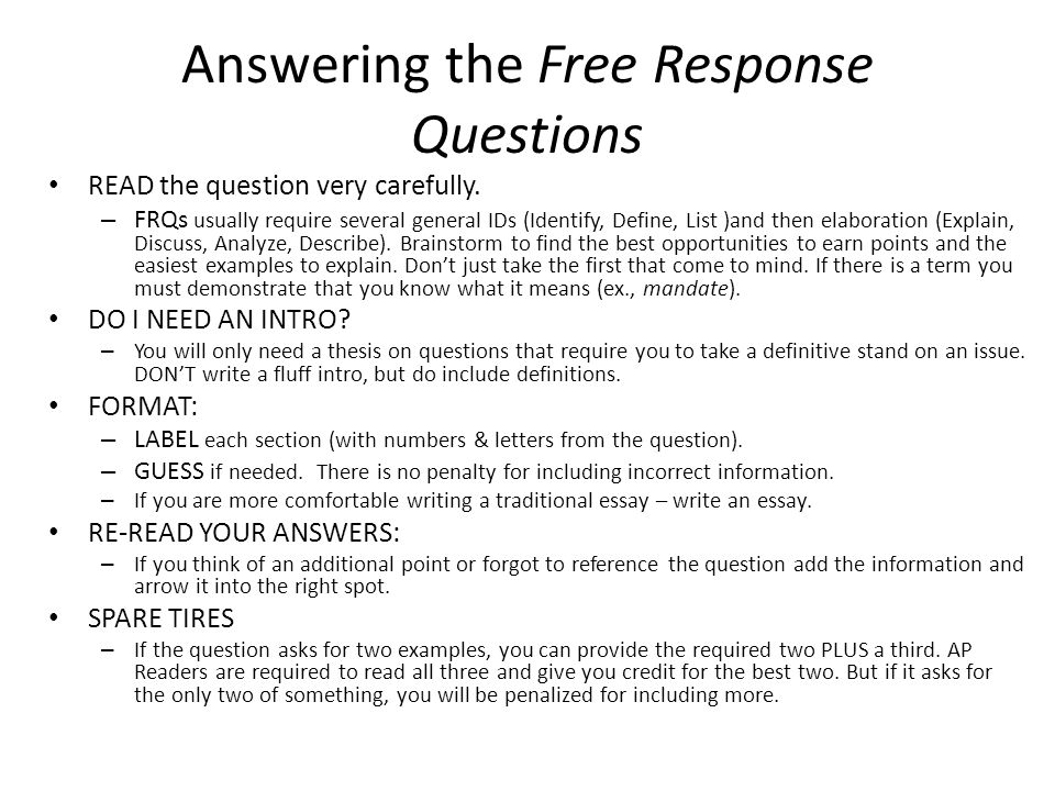 ap government essay answers After a two year review process, the us government and politics  is the free  response section, consisting of four questions answered over the.