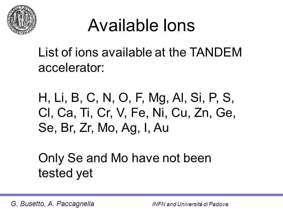 Available Ions List of ions available at the TANDEM accelerator: