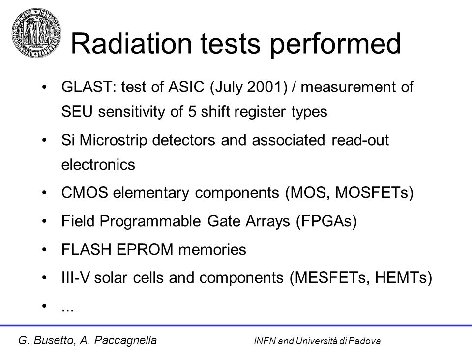 Radiation tests performed
