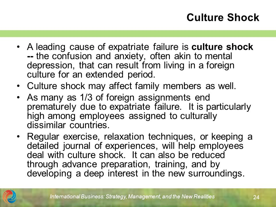 the phenomenon of culture shock in international business (see culture shock for more information about the challenges of adapting to a new culture) if return culture shock  of your international experience in.