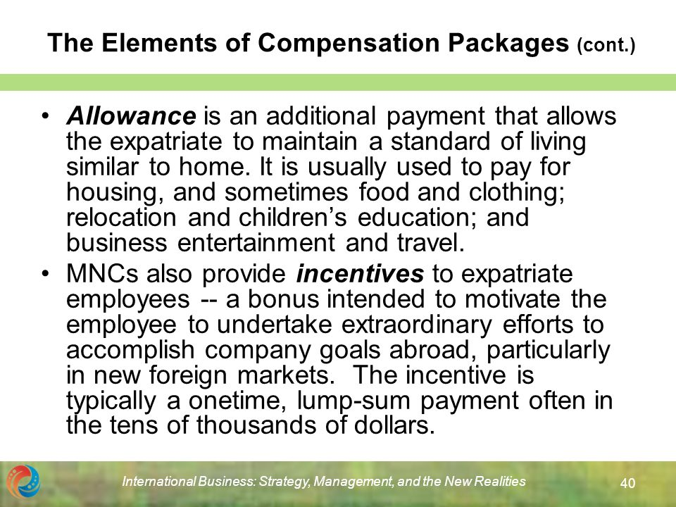 elements of expatriate compensation essay Compensation for expatriate topics: expatriate compensation essaybonus schemes, sales incentives (commission), overtime pay, and more.