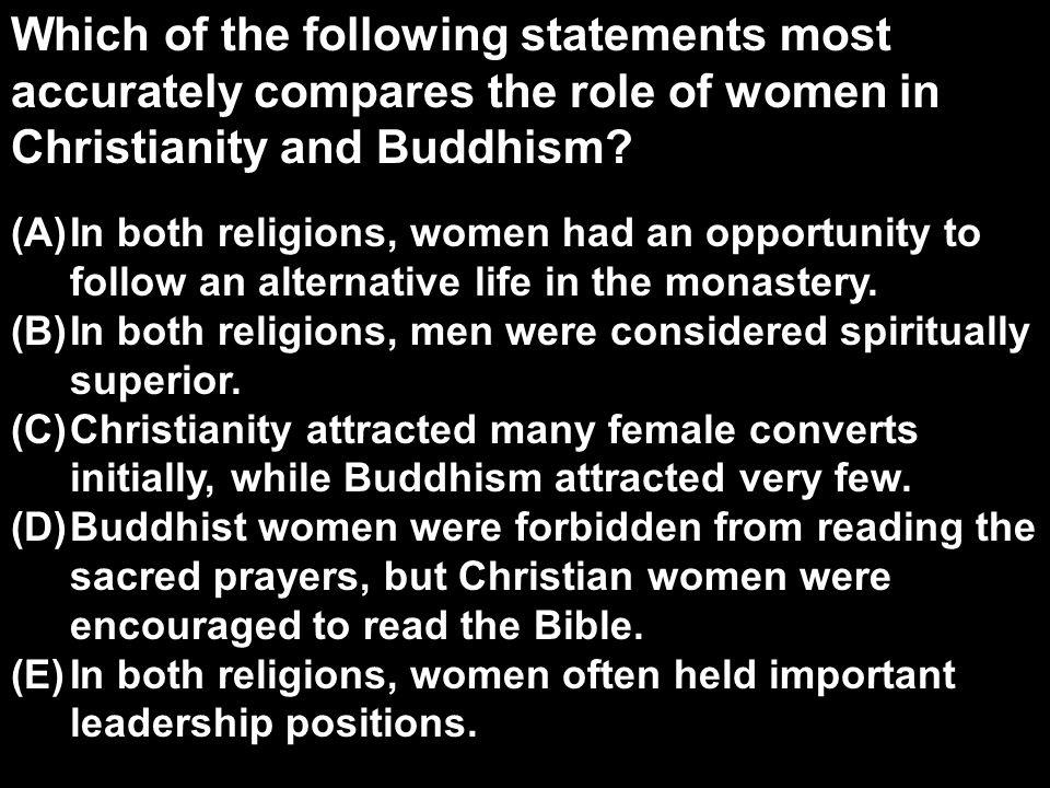 world religions role women 25042017 for many devout believers, religion plays an integral role in influencing every aspect of daily life different religions can be found all around the world.