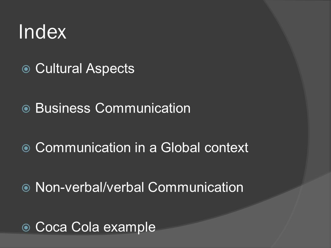 Index Cultural Aspects Business Communication
