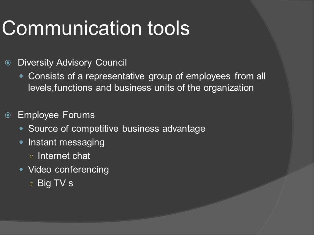 Communication tools Diversity Advisory Council