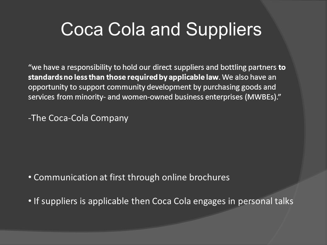 Coca Cola and Suppliers