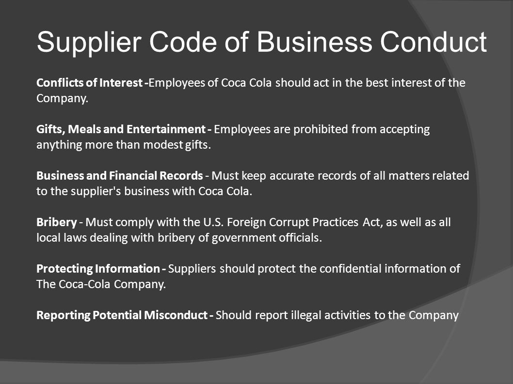 Supplier Code of Business Conduct