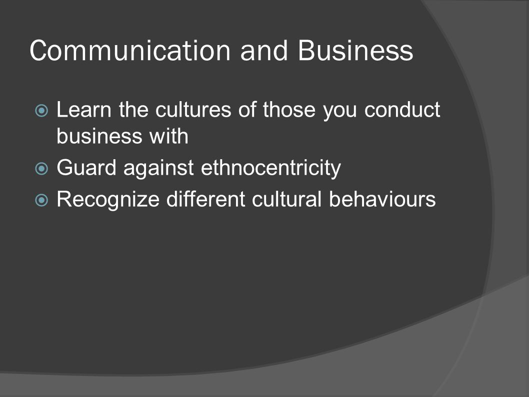 Communication and Business