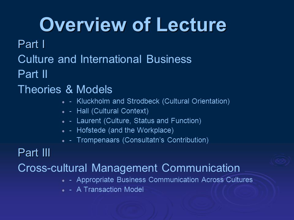 Overview of Lecture Part I Culture and I