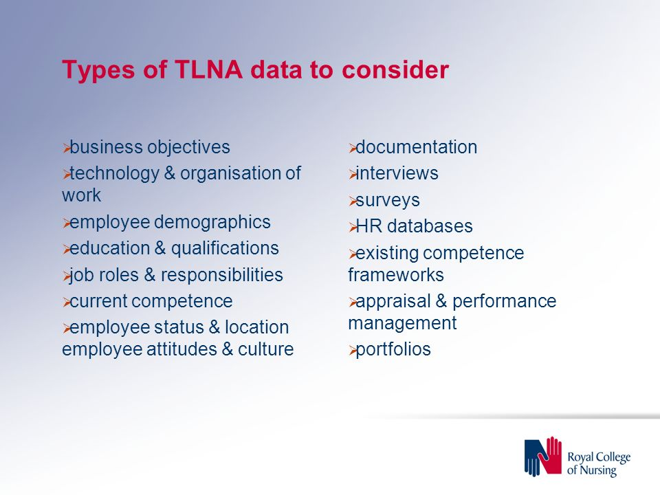 Types of TLNA data to consider