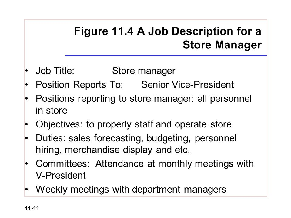 Retail Organization and Human Resource Management ppt video – Store Manager Job Description
