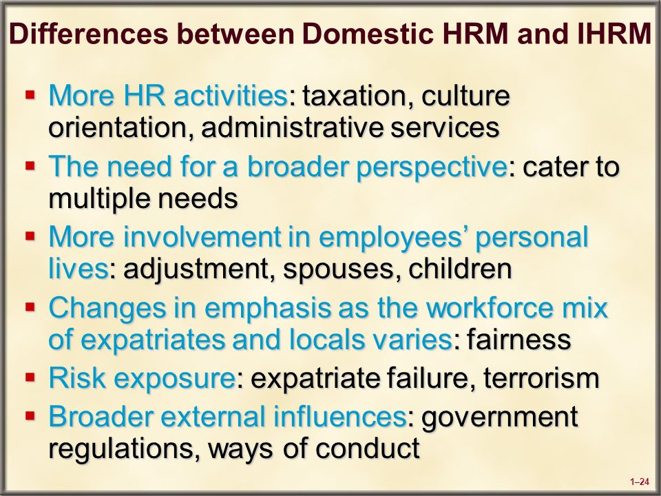 International and domestic hrm