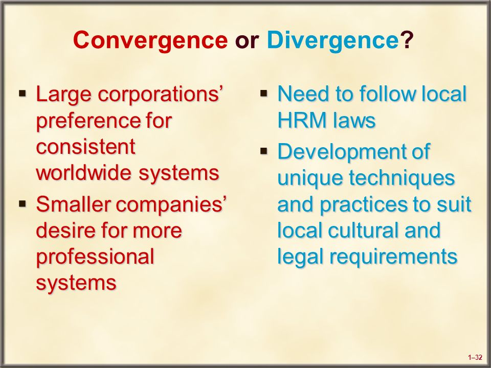 convergence and divergence in hrm practices essay Answer one of the following questions – length 3,000 words (essay) 1 in the field of comparative hrm, the convergence/divergence debate is now settled – european countries are moving towards an anglo-saxon, neo-liberal model.