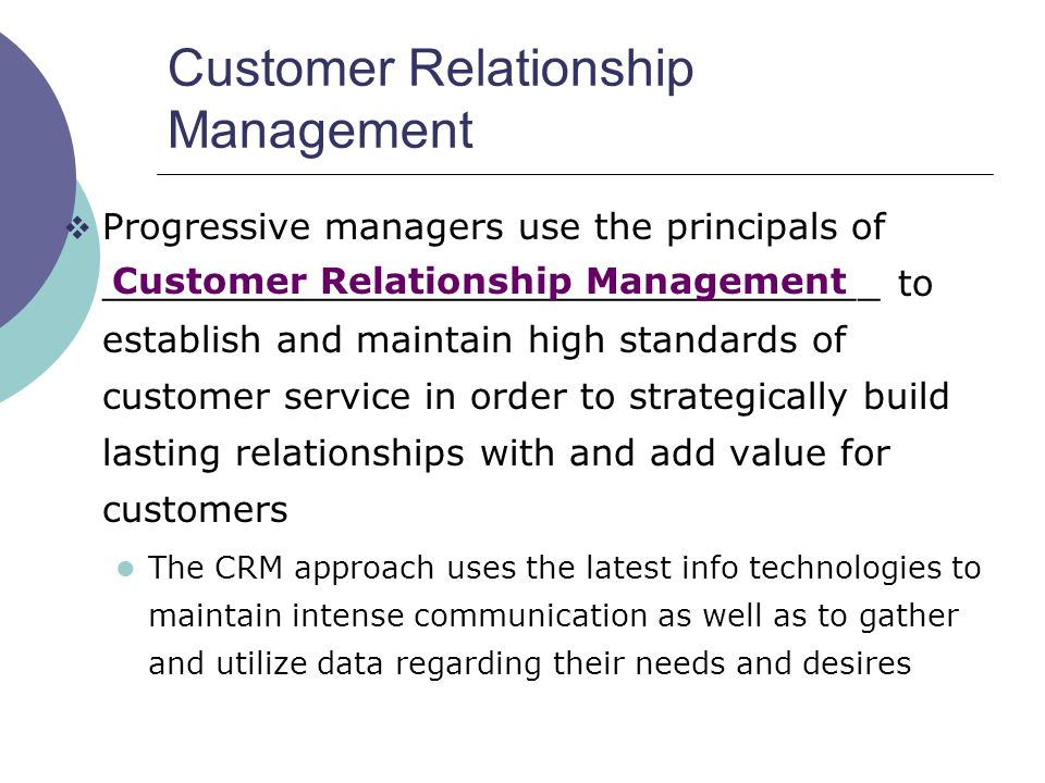 establish a relationship with customers and suppliers