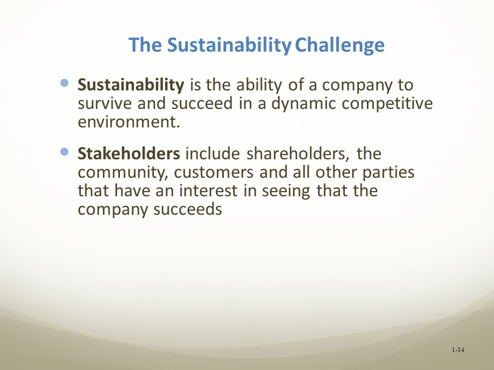 The Sustainability Challenge