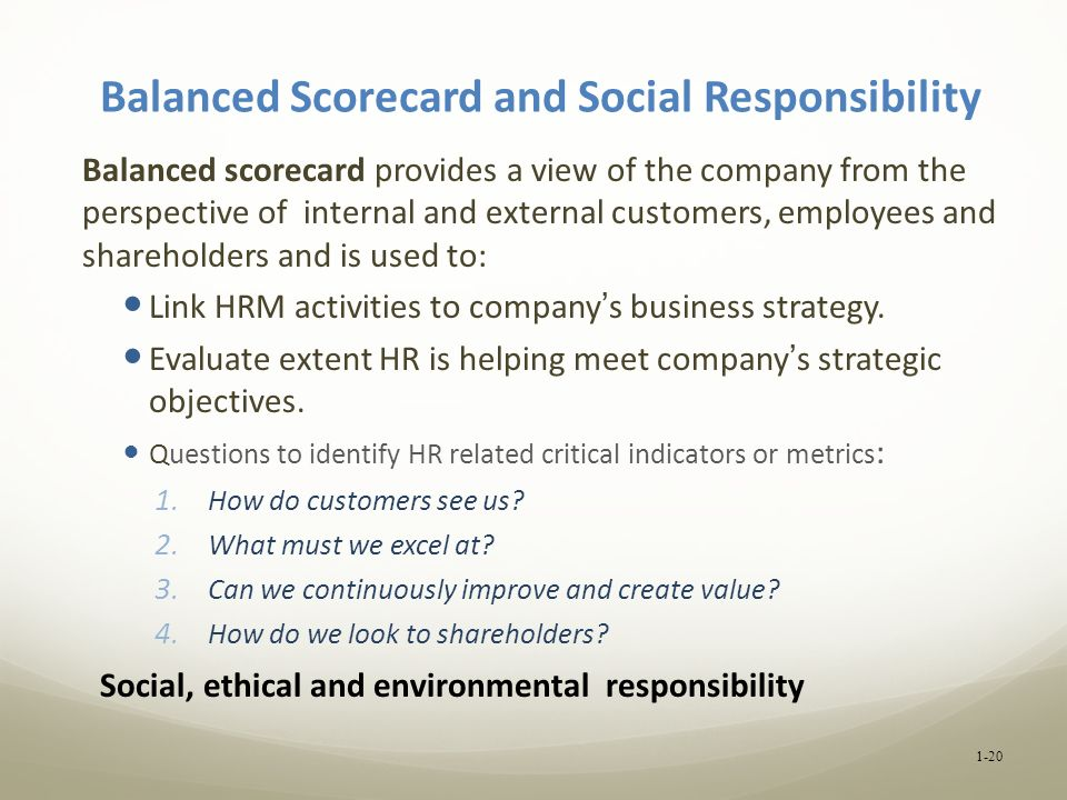 Balanced Scorecard and Social Responsibility