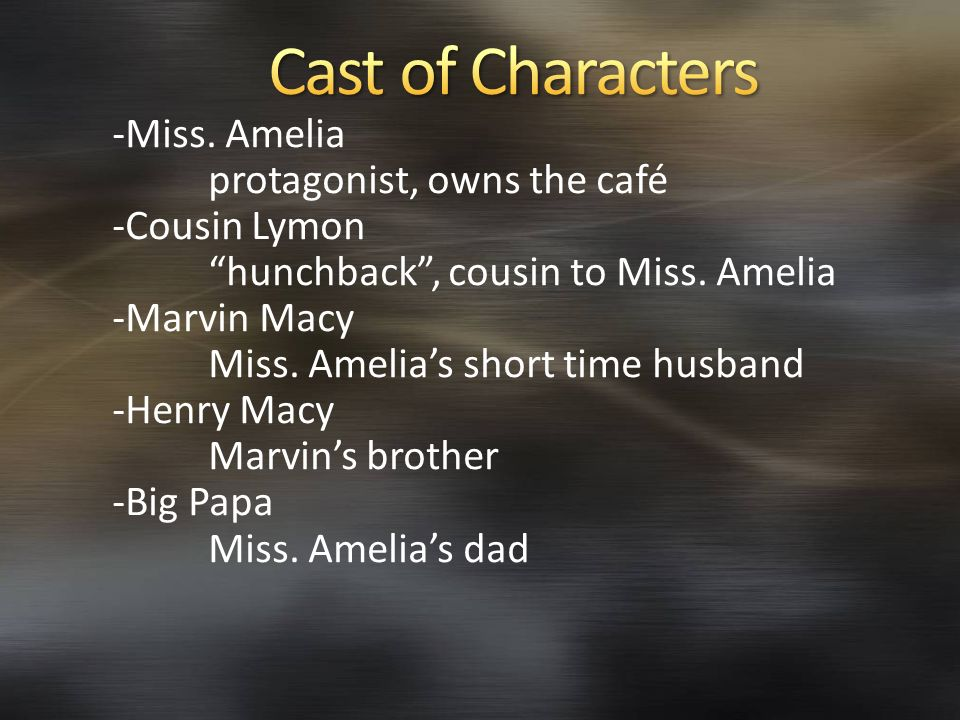 Cast of Characters -Miss. Amelia protagonist, owns the café
