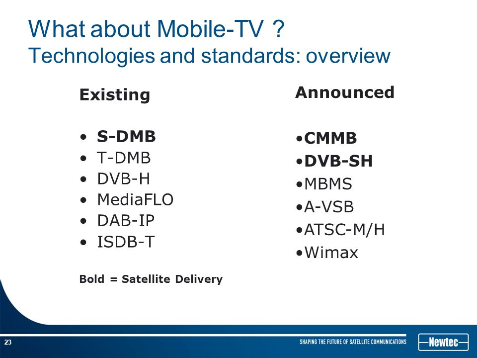 dvb h the emerging standard for On july 2011 an updated version to the initial dvb-t2 standard was added and   as the new services emerged such as vod or hdtv, the data rate capacity of .