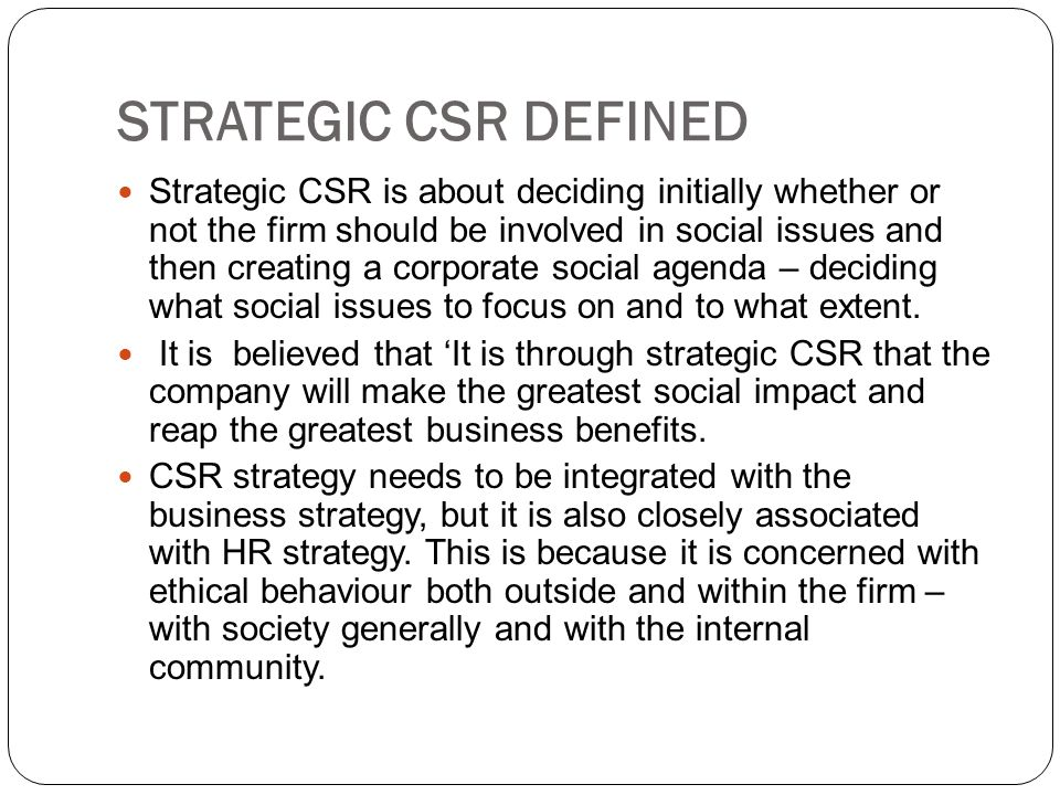 STRATEGIC CSR DEFINED