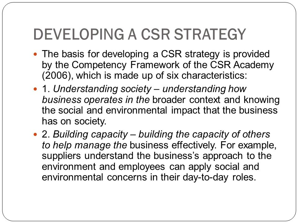 DEVELOPING A CSR STRATEGY