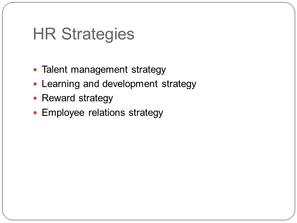 HR Strategies Talent management strategy