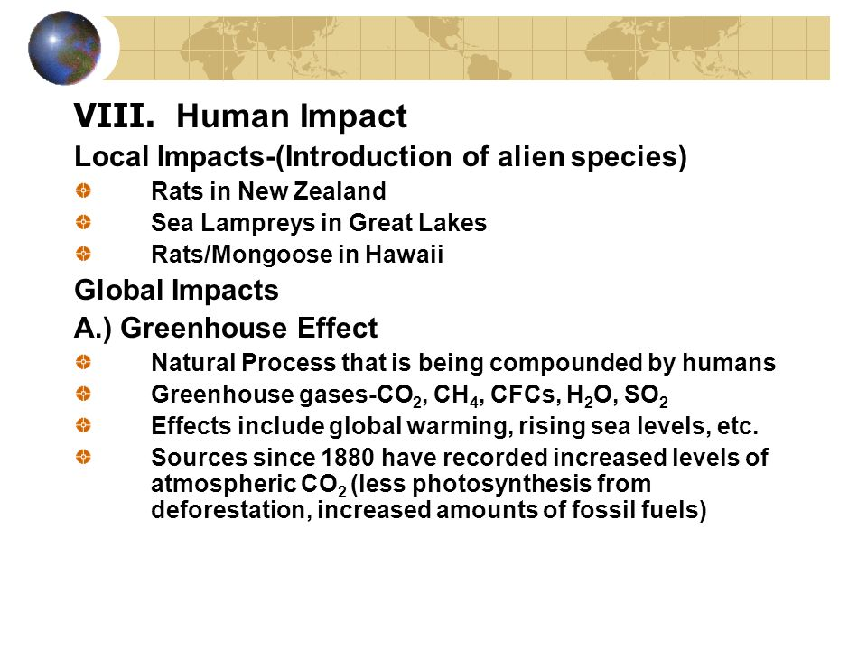 Human Impact Local Impacts-(Introduction of alien species)