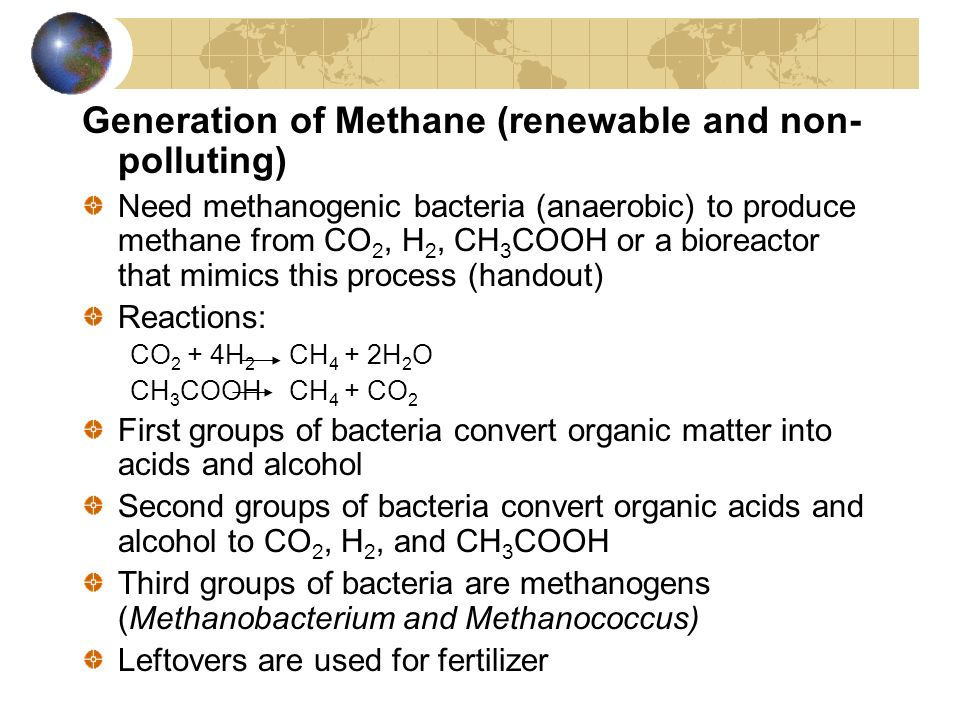 Generation of Methane (renewable and non-polluting)