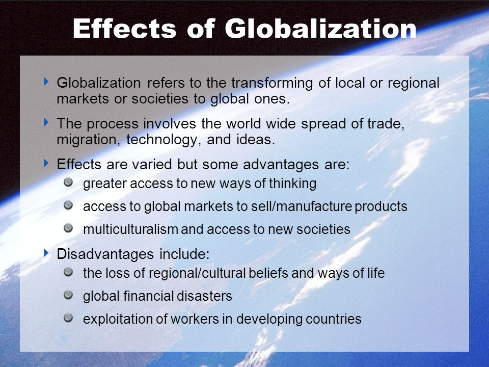 bad effects globalization developing countries Positive and negative effects of globalization in order to understand the positive and negative effects of globalization, we first need to under what globalization actually is in simple words, globalization is a modernized development of the business world.