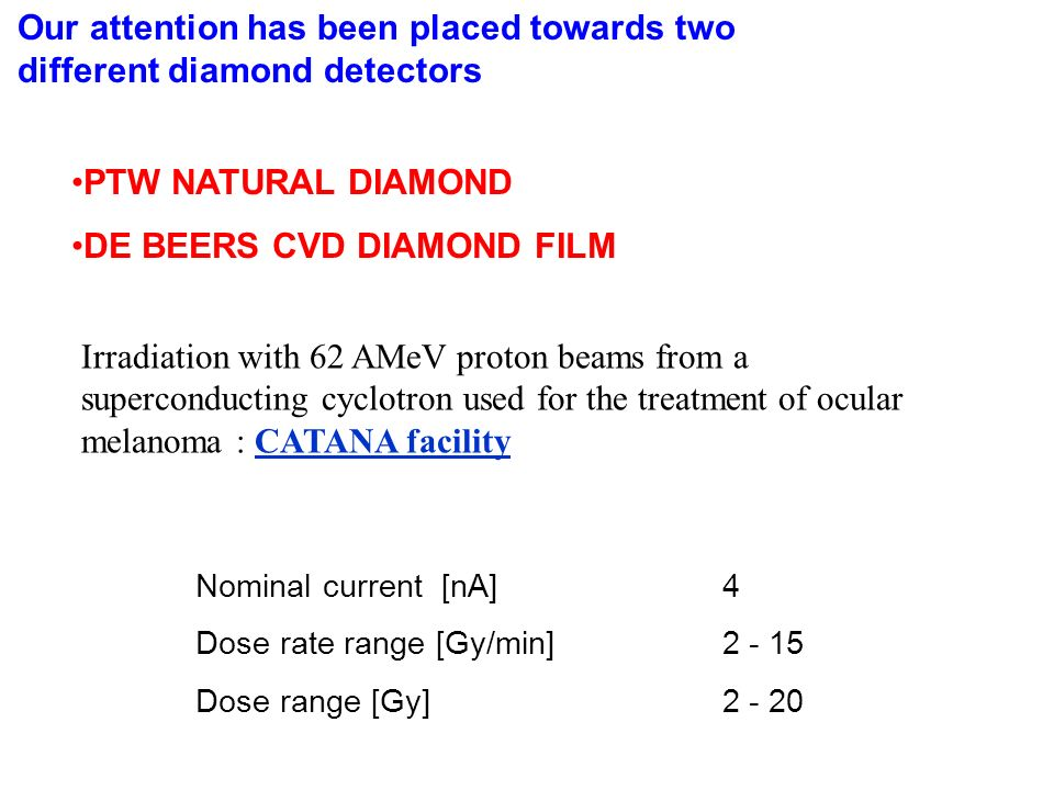 Our attention has been placed towards two different diamond detectors