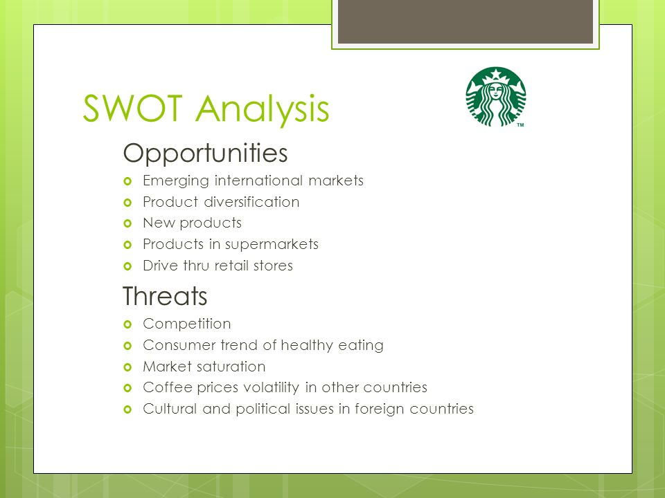 Swot analysis for coffee and bakery retail