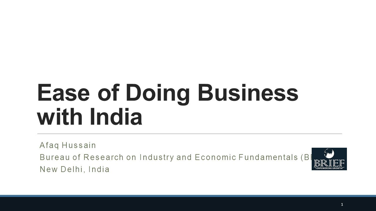 Ease of Doing Business with India