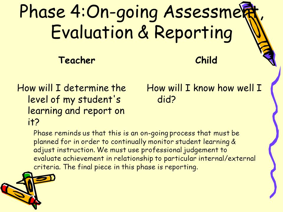 Phase 4:On-going Assessment, Evaluation & Reporting