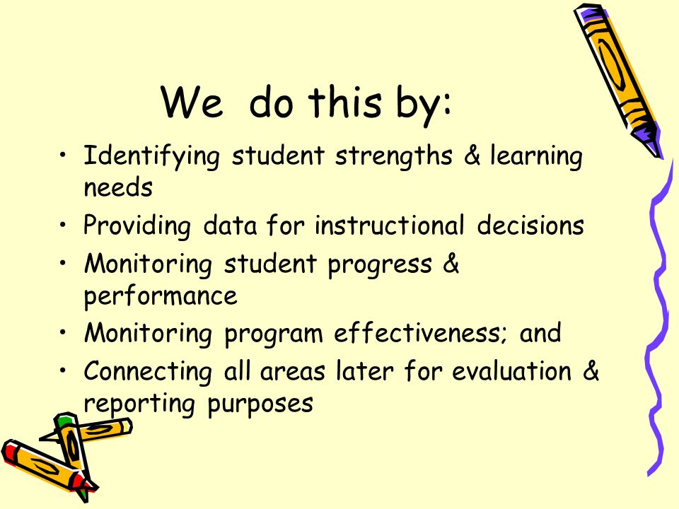 We do this by: Identifying student strengths & learning needs