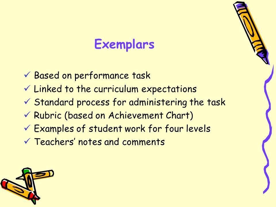 Exemplars Based on performance task