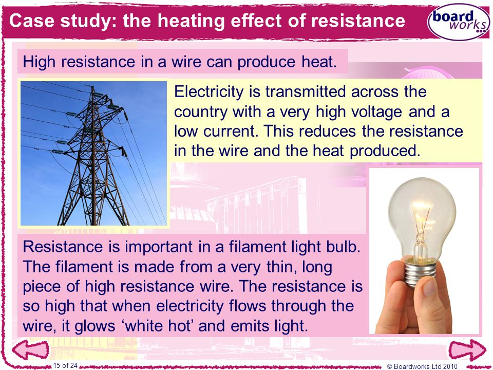Case study: the heating effect of resistance