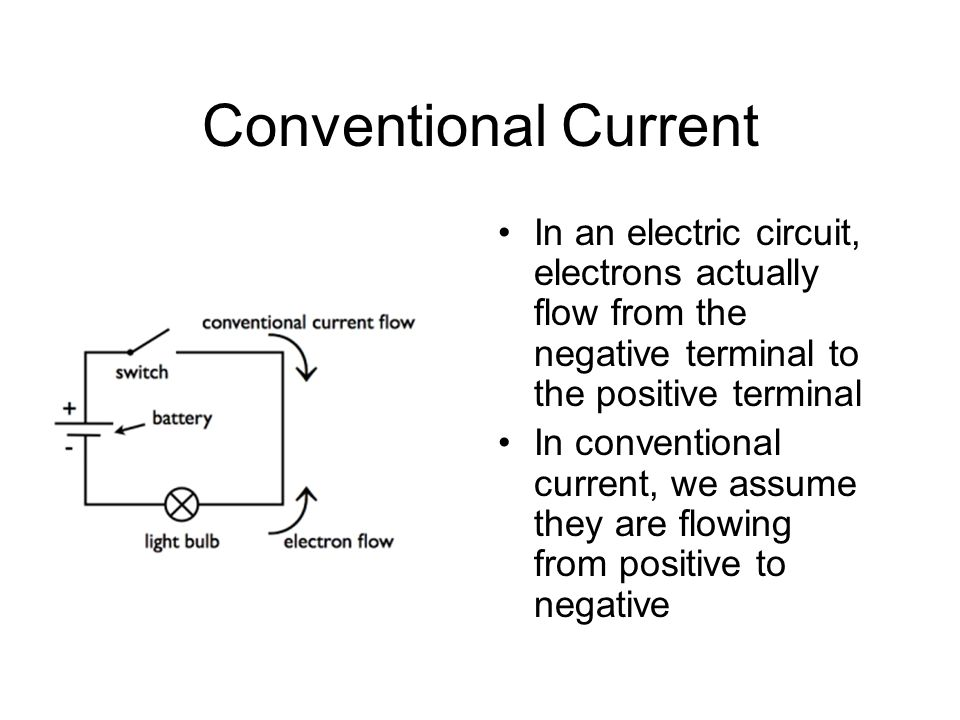 Conventional Current In an electric circuit, electrons actually flow from the negative terminal to the positive terminal.