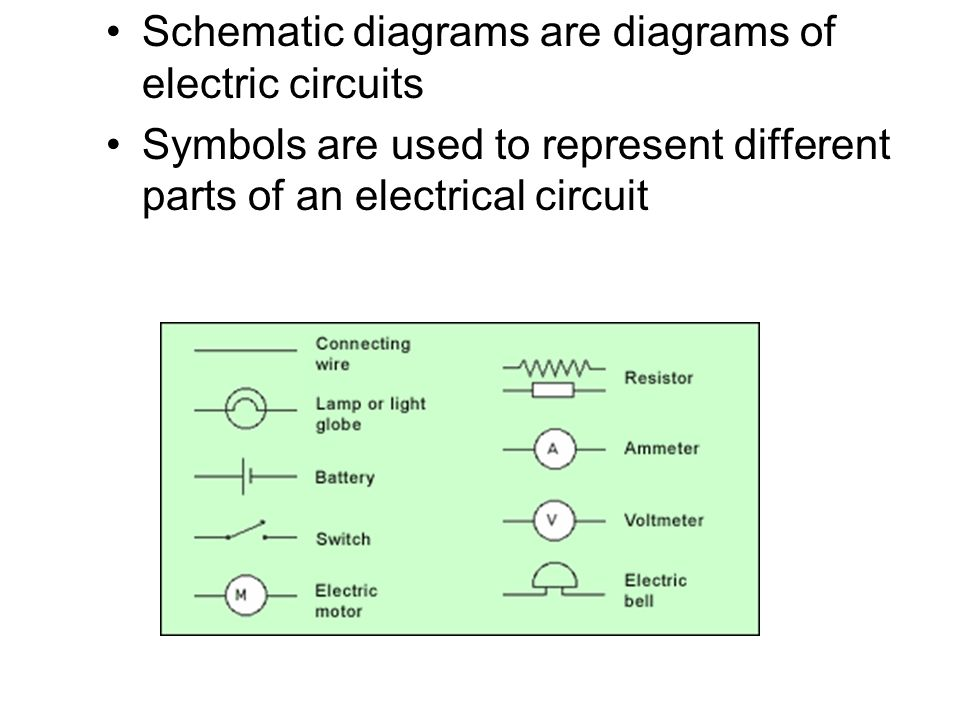 Schematic diagrams are diagrams of electric circuits