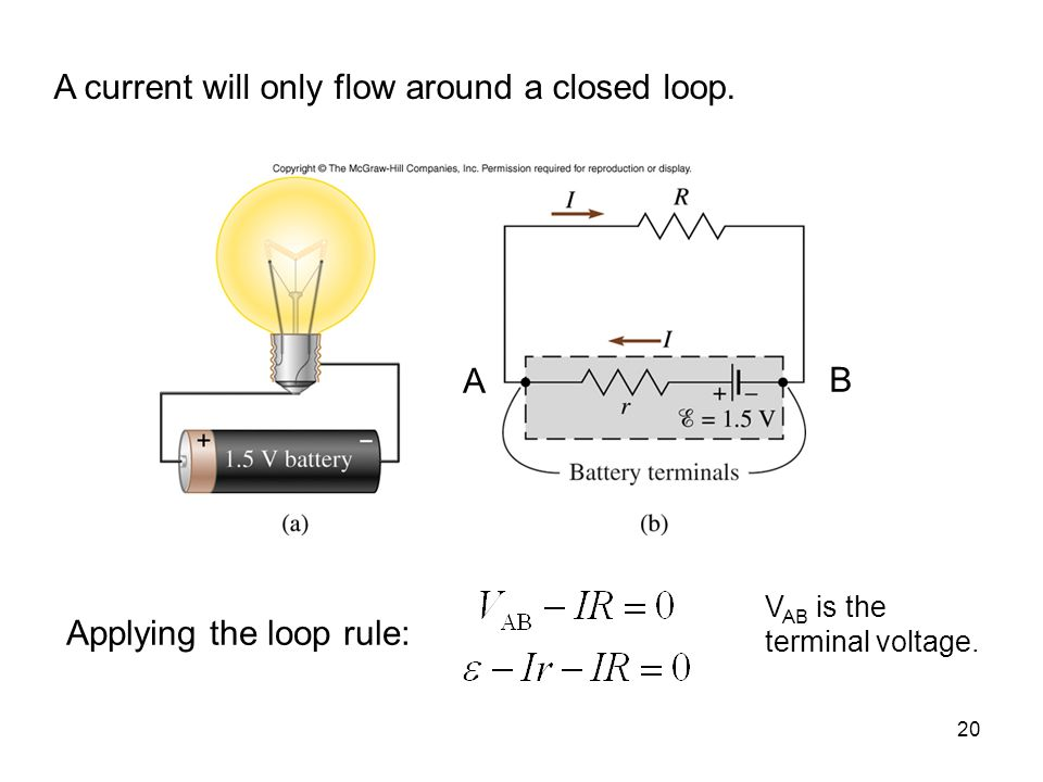 A current will only flow around a closed loop.