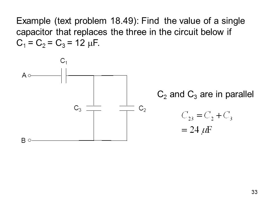 Example (text problem 18.49): Find the value of a single capacitor that replaces the three in the circuit below if