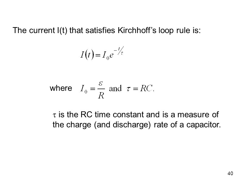 The current I(t) that satisfies Kirchhoff's loop rule is: