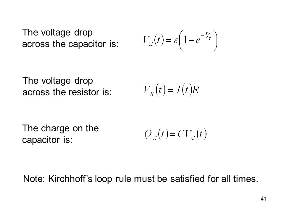 The voltage drop across the capacitor is: