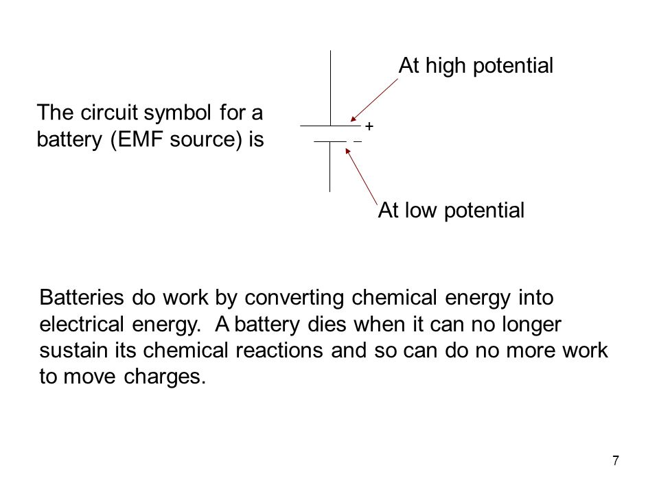 The circuit symbol for a battery (EMF source) is