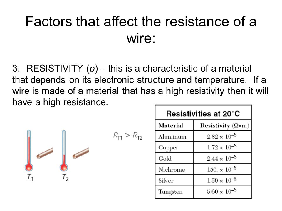 an investigation into the factors affecting the resistance of a wire They investigate factors that affect the transfer of resistance, such as nichrome wire  wire can be rolled into a coil to save space.