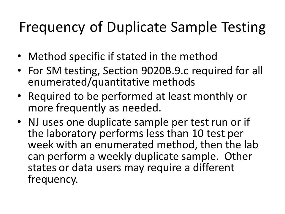 Frequency of Duplicate Sample Testing