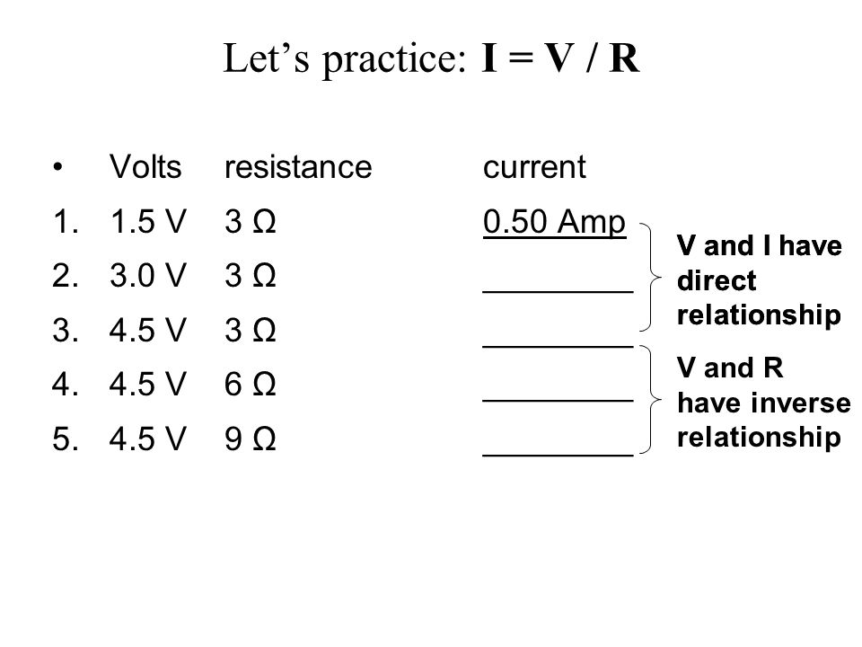 amp and volt relationship